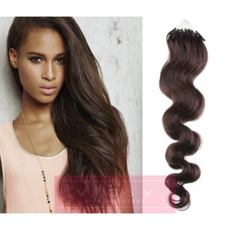 Vlnité vlasy Micro Ring / Easy Loop / Easy Ring / Micro Loop 50cm – tmavě hnědé
