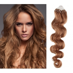 Vlnité vlasy Micro Ring / Easy Loop / Easy Ring / Micro Loop 50cm – světle hnědé