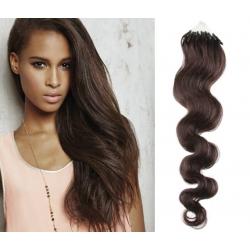 Vlnité vlasy Micro Ring / Easy Loop / Easy Ring / Micro Loop 60cm – tmavě hnědé