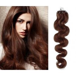 Vlnité vlasy Micro Ring / Easy Loop / Easy Ring / Micro Loop 60cm – středně hnědé