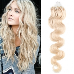 Vlnité vlasy Micro Ring / Easy Loop / Easy Ring / Micro Loop 60cm – platina