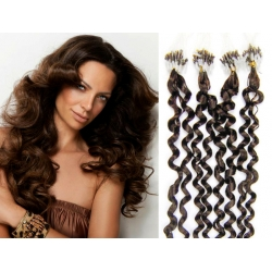 Kudrnaté vlasy Micro Ring / Easy Loop / Easy Ring / Micro Loop 50cm – tmavě hnědé