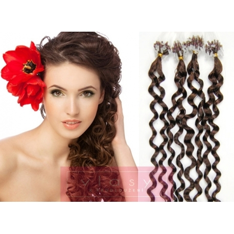 Kudrnaté vlasy Micro Ring / Easy Loop / Easy Ring / Micro Loop 50cm – středně hnědé