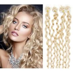 Kudrnaté vlasy Micro Ring / Easy Loop / Easy Ring / Micro Loop 50cm – platina