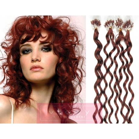 Kudrnaté vlasy Micro Ring / Easy Loop / Easy Ring / Micro Loop 50cm – měděné