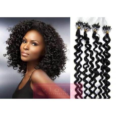 Kudrnaté vlasy Micro Ring / Easy Loop / Easy Ring / Micro Loop 60cm – černé