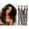 Kudrnaté vlasy Micro Ring / Easy Loop / Easy Ring / Micro Loop 60cm – tmavě hnědé