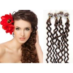 Kudrnaté vlasy Micro Ring / Easy Loop / Easy Ring / Micro Loop 60cm – středně hnědé