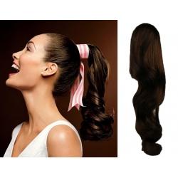 Clip in příčesek culík/cop 100% lidské vlasy 50cm vlnitý - tmavě hnědý