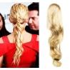 Clip in příčesek culík/cop 100% lidské vlasy 50cm vlnitý - nejsvětlejší blond