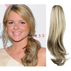 Clip in příčesek culík/cop 100% lidské vlasy 50cm vlnitý - platina / světle hnědá